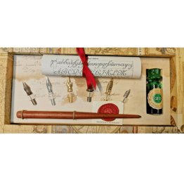 Stilografica in legno Rubinato Canotto inchiostro verde
