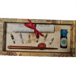 Stilografica in legno Rubinato canotto inchiostro turchese